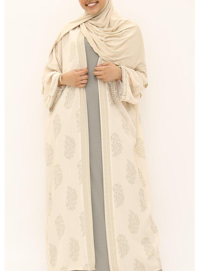 Kimono with print - beige