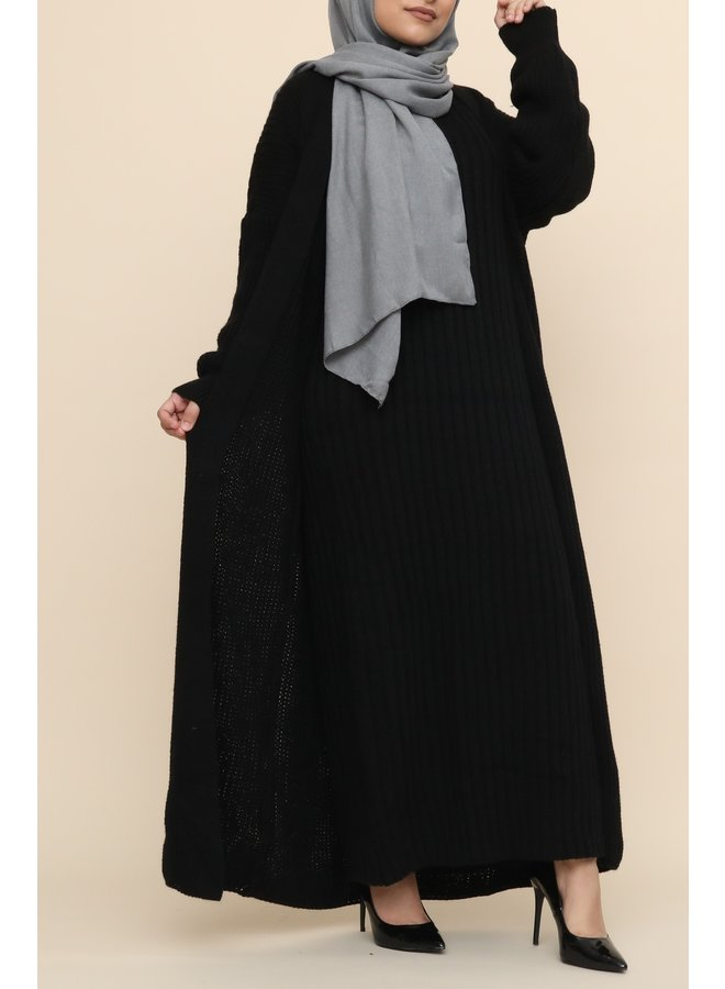 Geribte lange twinset met vest -black