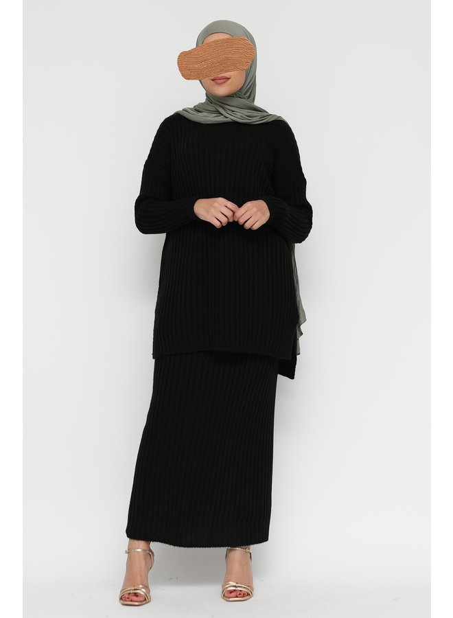 Ribbed twinset with skirt -black