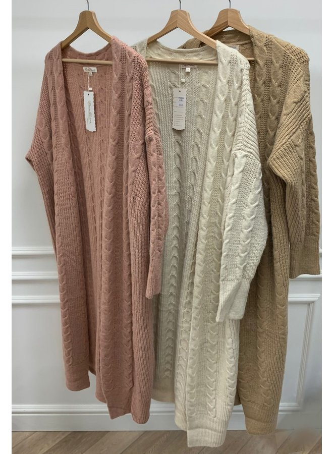 Long cardigan cable