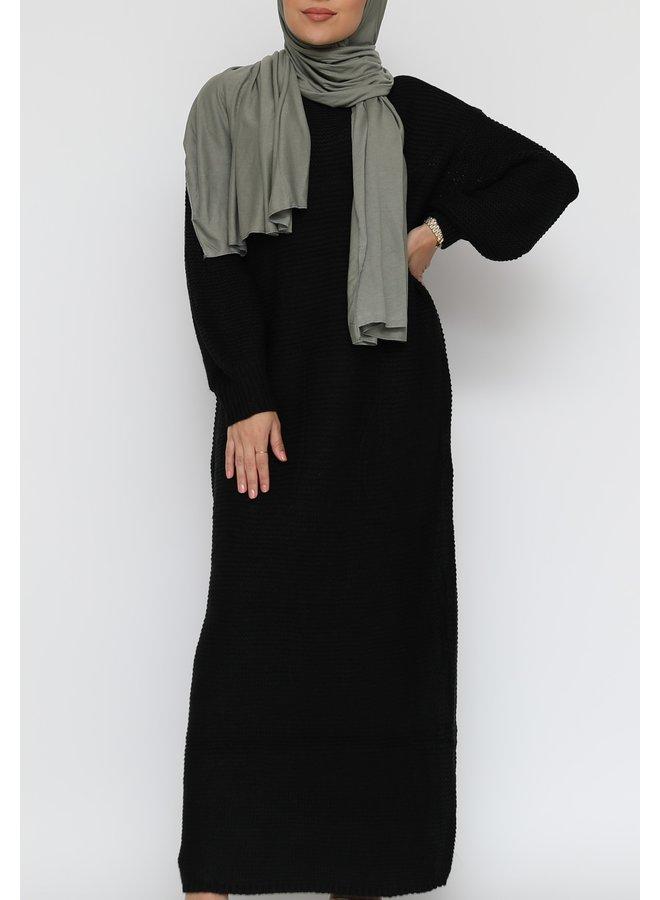 Long sweater dress with puffed sleeve - black