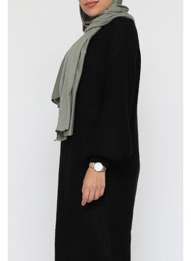 Lange trui jurk met pofmouw -zwart
