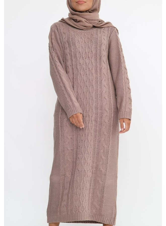 Sweater with pattern -taupe