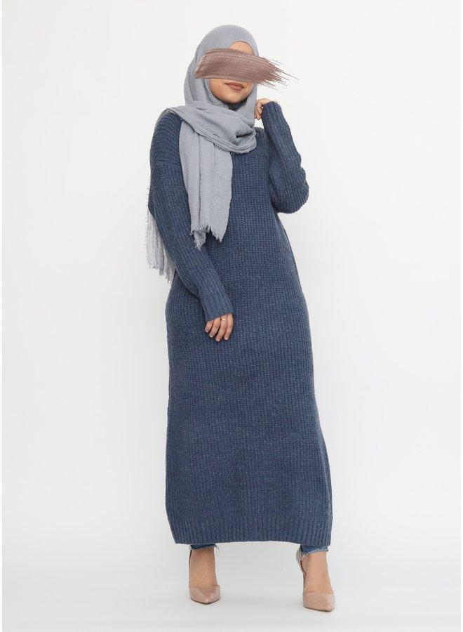 Lange warme trui - blauw