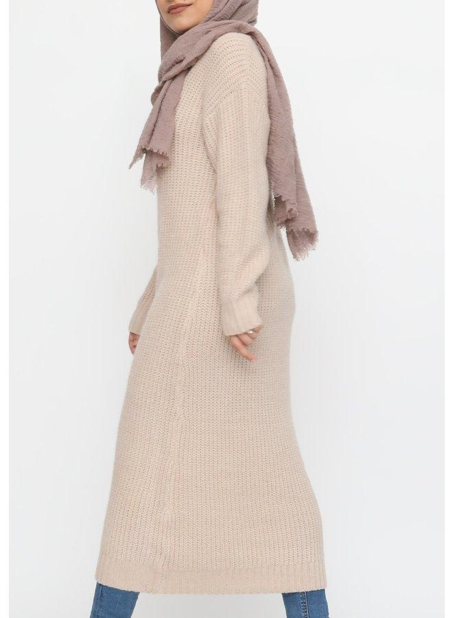 Long warm sweater - creme