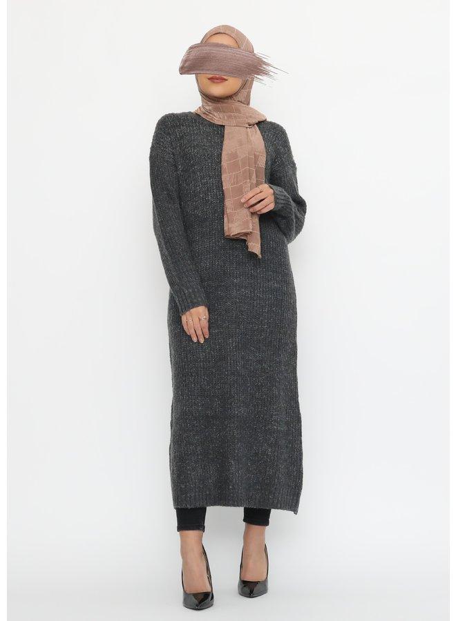 Lange warme trui - donkergrijs