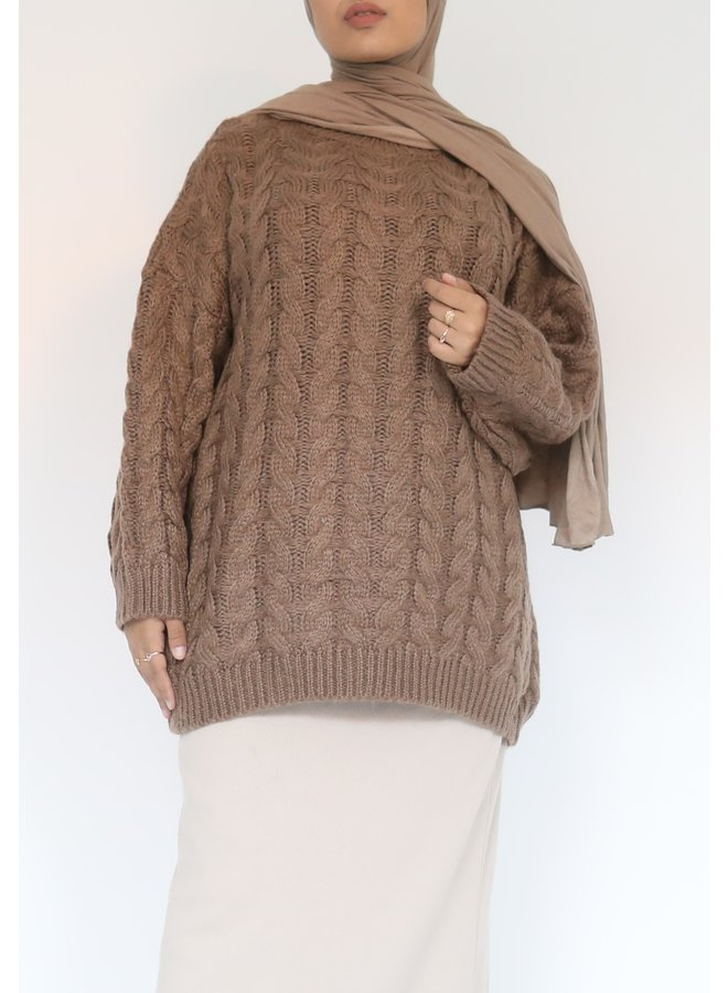 Short cable pattern sweater - brown
