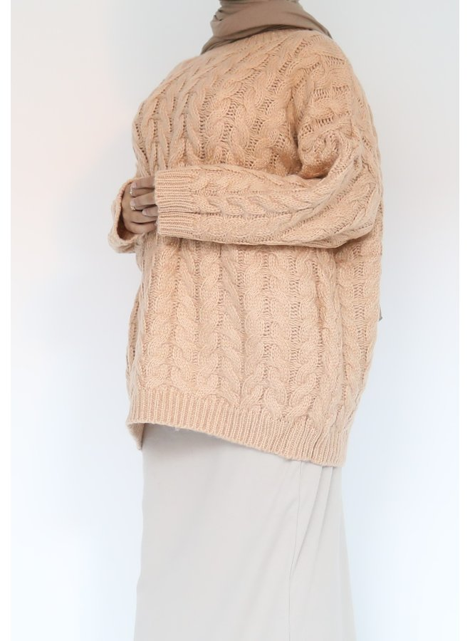 Short cable pattern sweater - peach