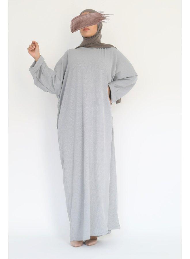 Oversized ribbed abaya - gray