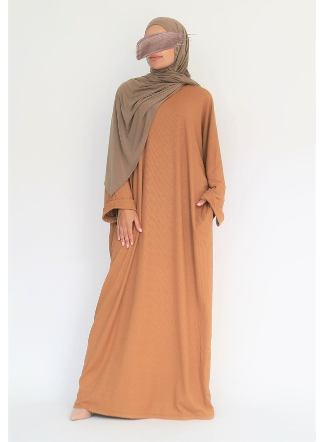 Oversized geribde abaya - camel