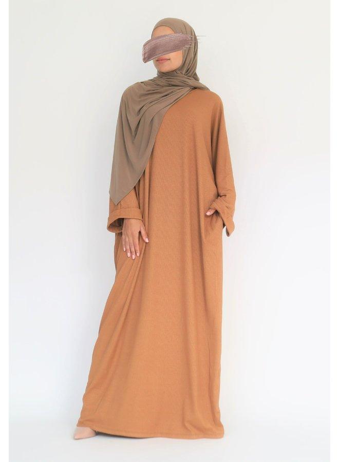Oversized ribbed abaya - camel