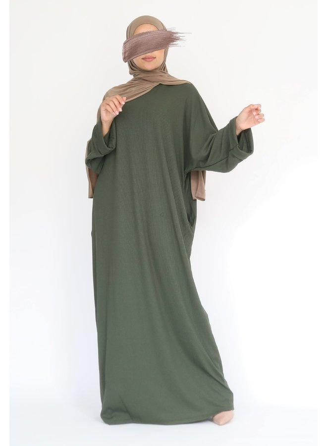 Oversized ribbed abaya - kaki