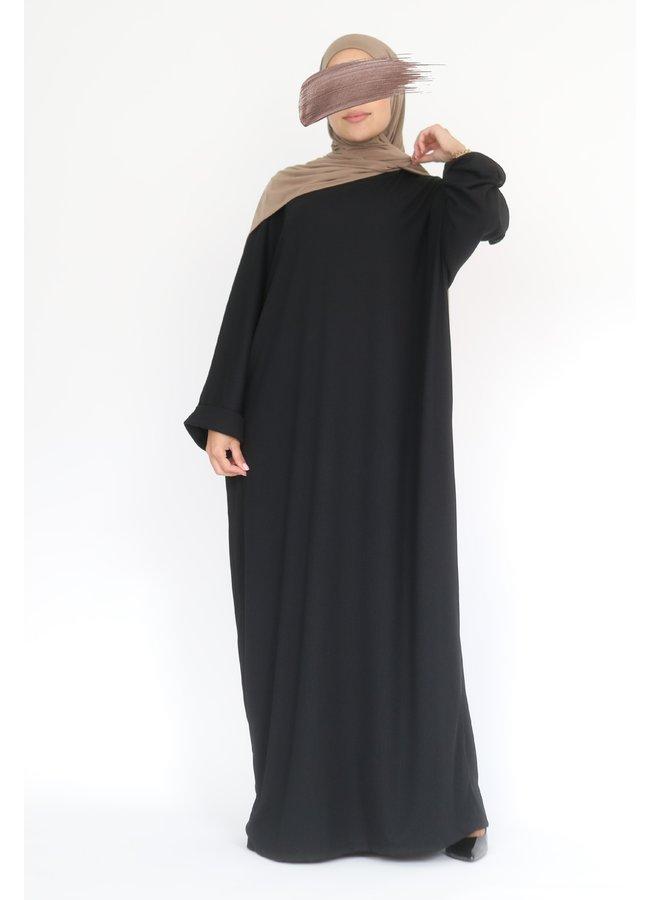 Oversized geribde abaya - zwart