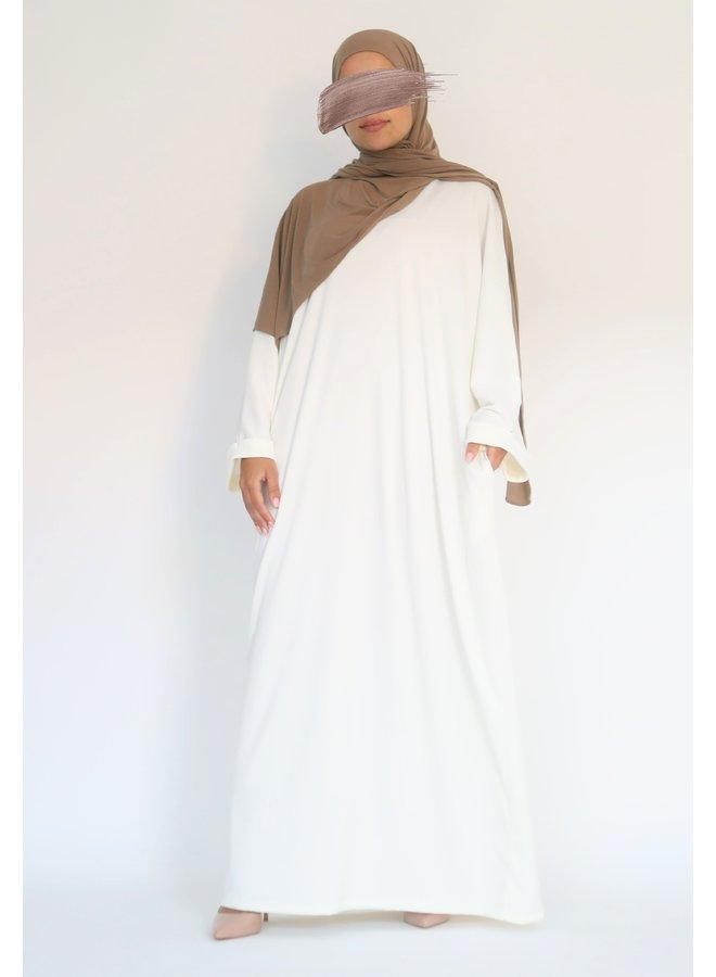 Oversized ribbed abaya - white