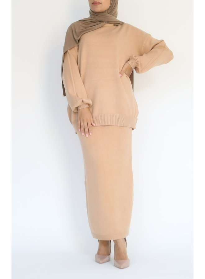 Twinset with skirt - nude
