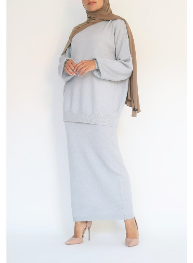 Twinset avec jupe - bleu gris