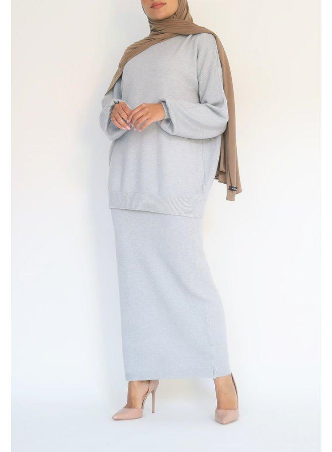 Twinset met rok  - grijsblauw
