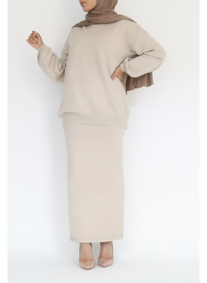Twinset with skirt - beige