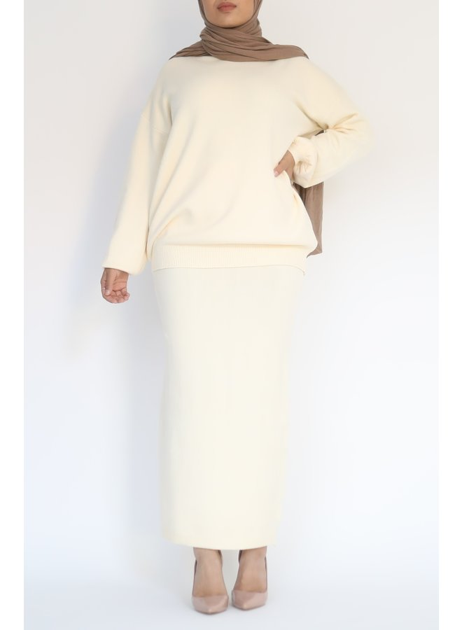 Twinset with skirt - creme