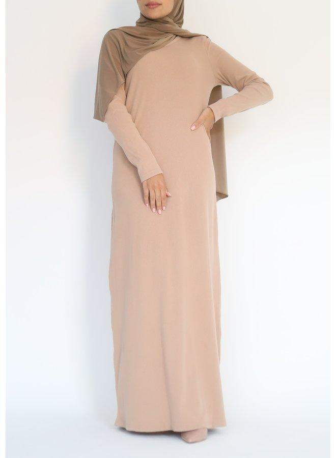 Geribde jurk - nude