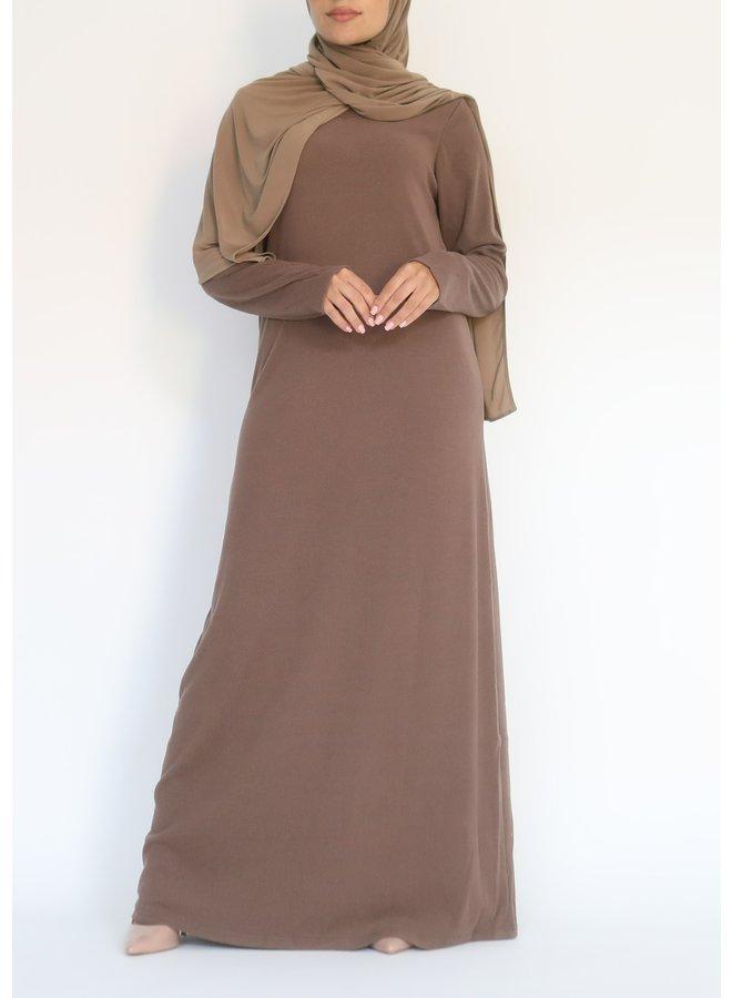 Geribde jurk - bruin