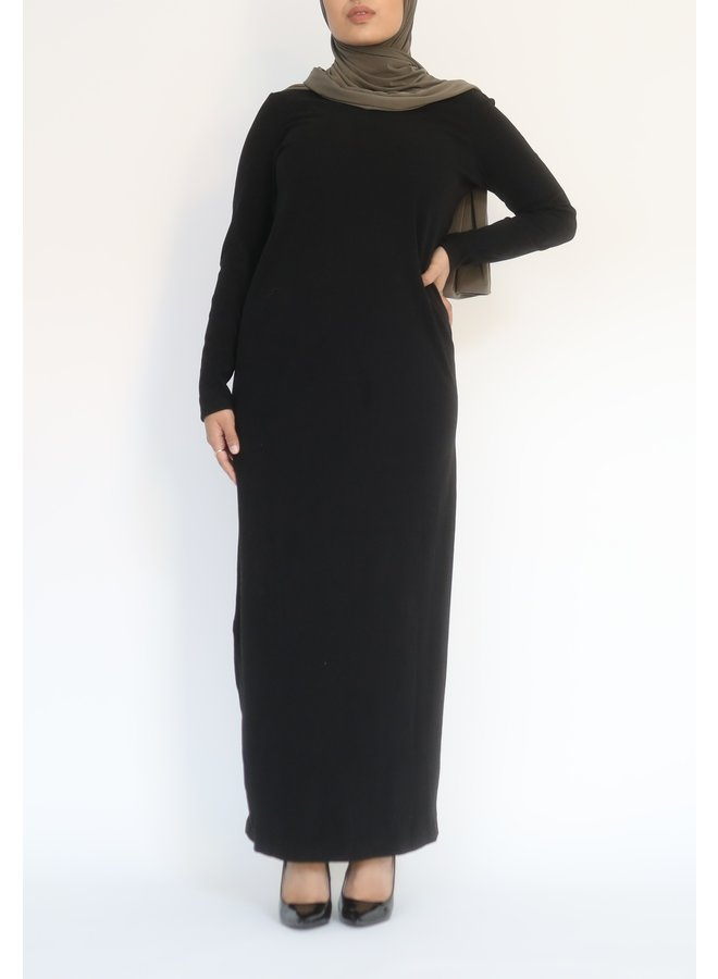 Geribde jurk - zwart