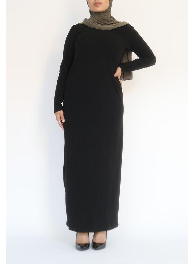 Ribbed Dress - black