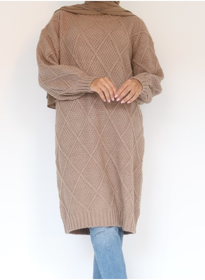 Midi sweater with pattern- taupe