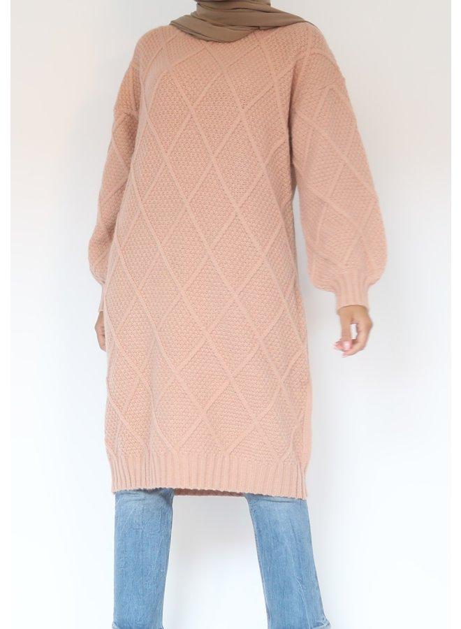 Midi sweater with pattern - roze