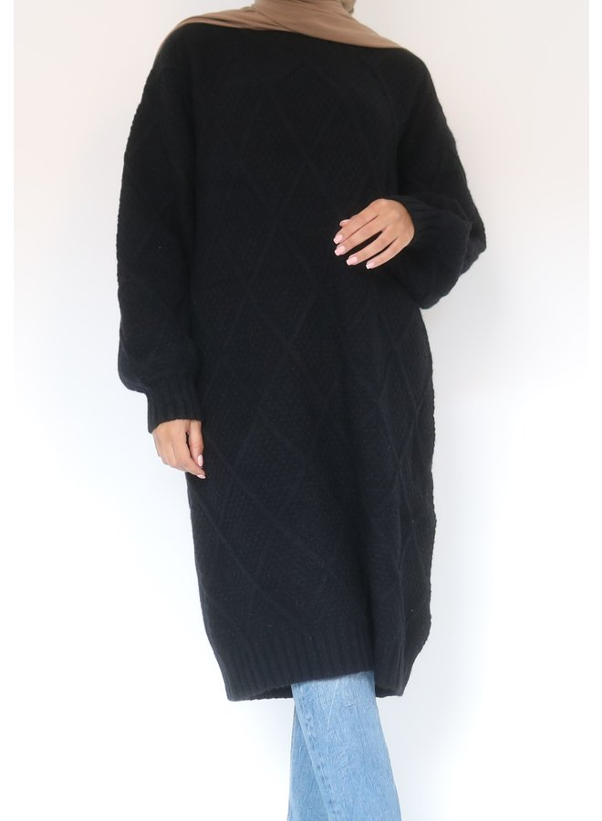 Midi sweater with pattern - black