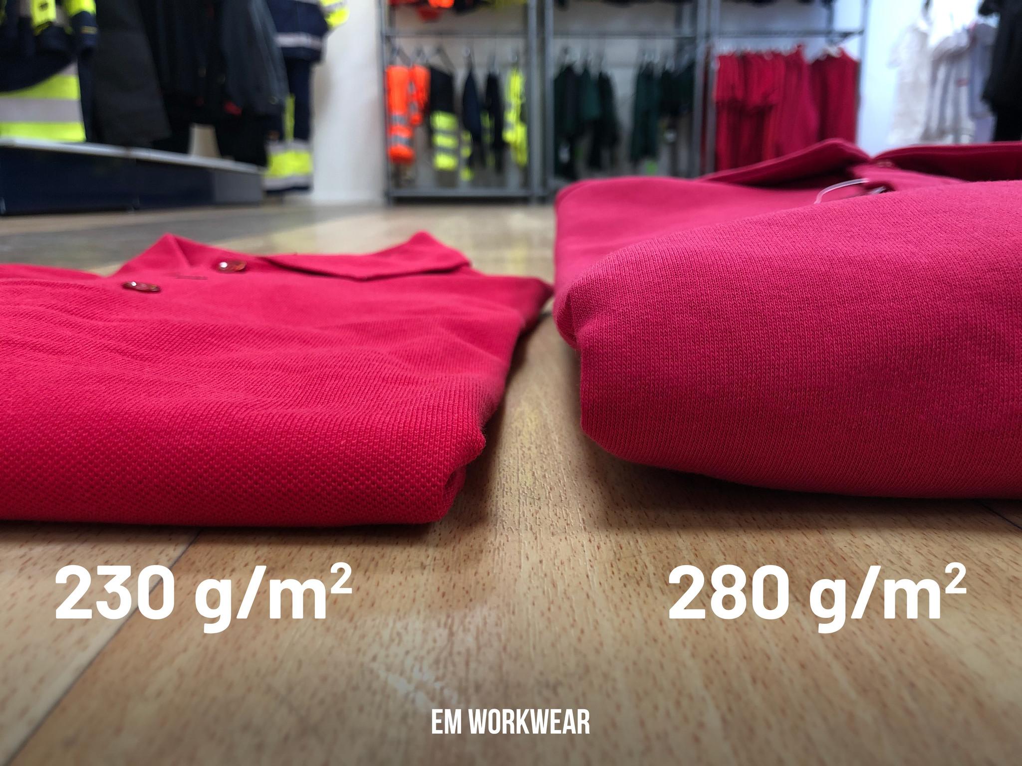 Aantal grammen bij werkkleding vergelijking