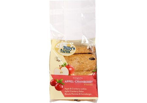 Billy's Farm Speltstaafjes Appel-Cranberry 175 gram