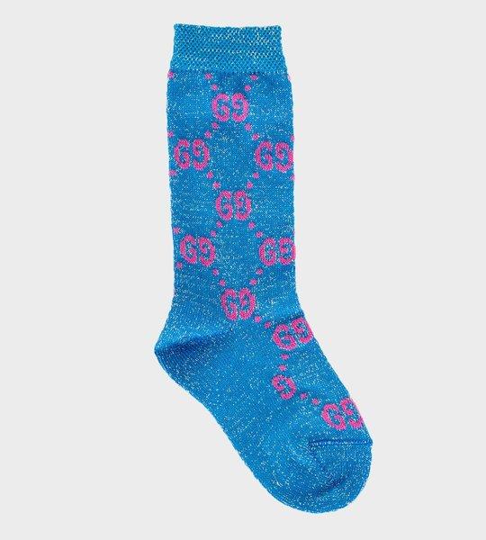 Logo Glitter Socks Blue