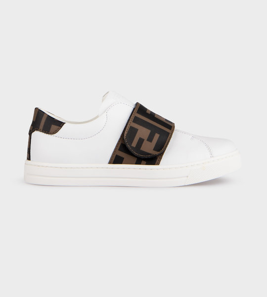 Logo Leather Sneaker Brown/White