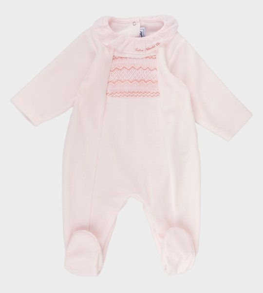 Pink velours baby bodysuit with smocked panel