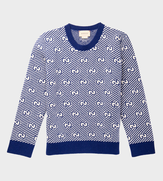 Wool Knit Sweater Blue