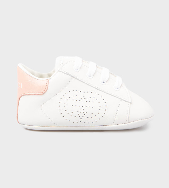 Baby Ace Pink Logo Sneaker White