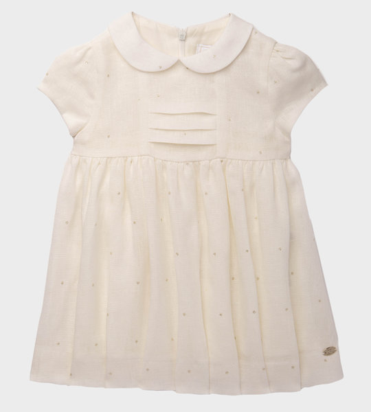 Cotton Dress With Silver Detail Ecru