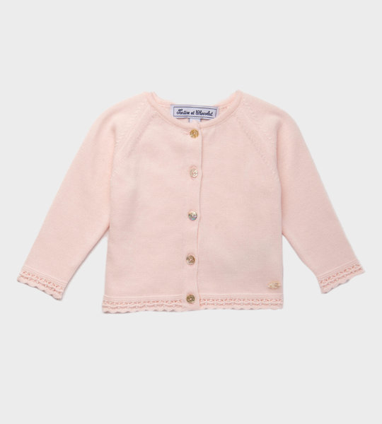 Baby Weave Knit Cardigan Pink