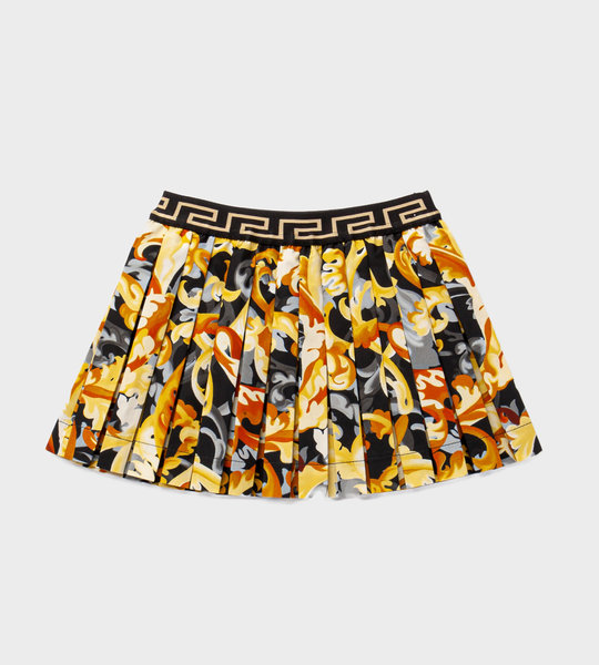 Baby Barocco Print Pleated Skirt Gold
