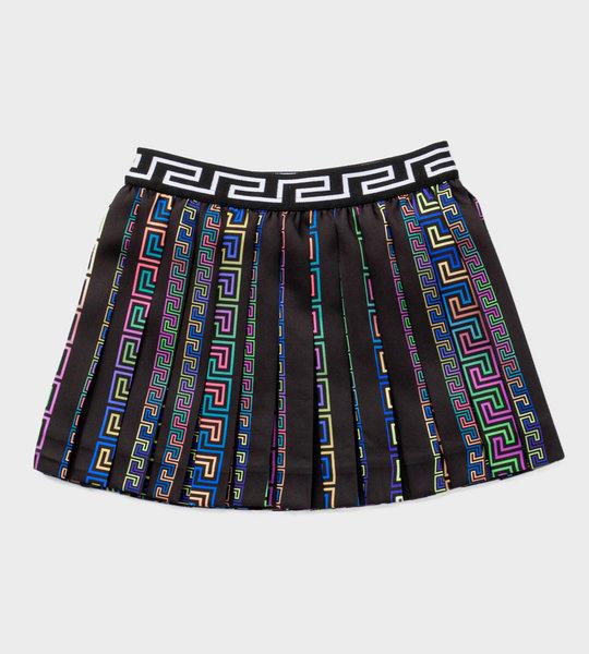 Baby Greca Print Pleated Skirt Black
