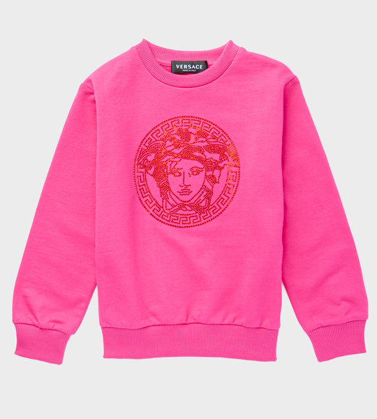 Medusa Sequins Logo Sweater Pink