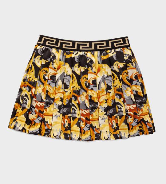 Barocco Print Pleated Skirt Gold