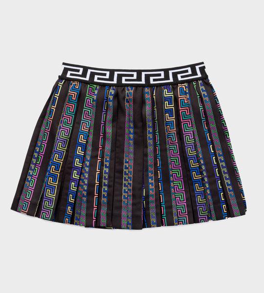 Greca Print Pleated Skirt Black