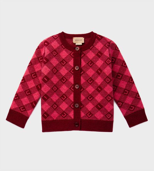 Baby GG Wool Cardigan Pink