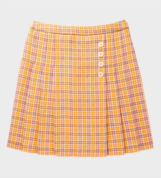 GG Check Wool Skirt Orange