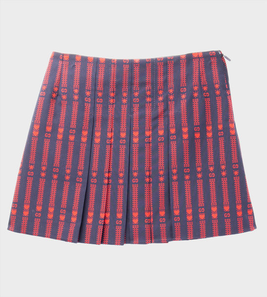 GG Heart Skirt Navy/Red