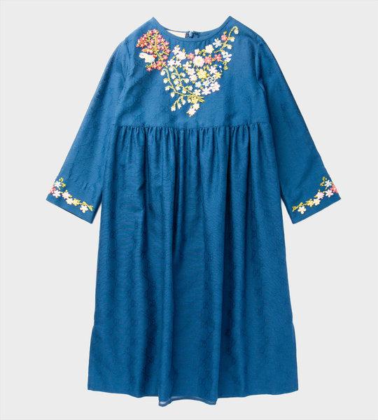 Embroiderd Flower Dress Blue