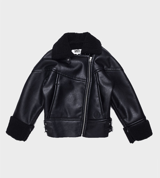 Faux Shearling-Lined Biker Jacket Black