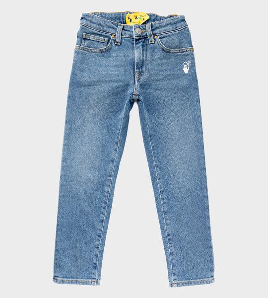 Off-hand Logo Denim Jeans Blue